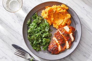 Seared Chicken & Spicy Maple Sauce with Sweet Potatoes & Kale