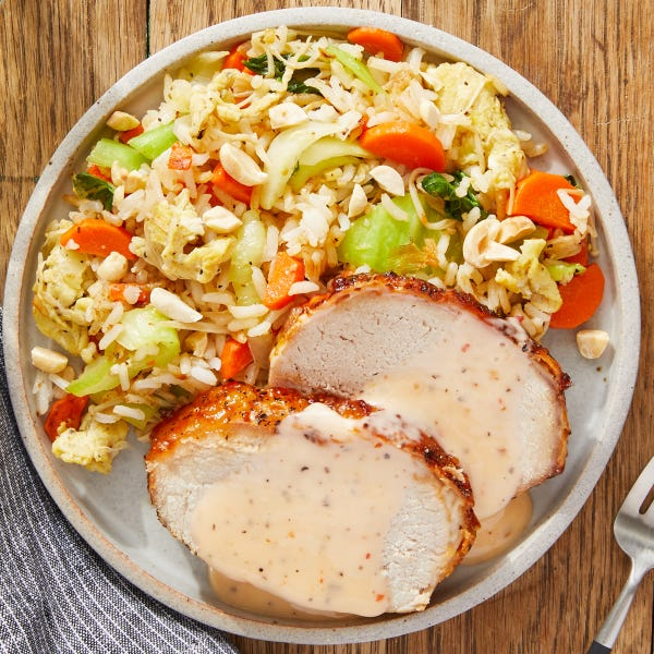Sweet Chili-Glazed Pork with Vegetable Fried Rice