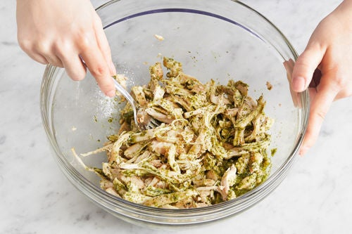 Cook, shred, & dress the chicken: