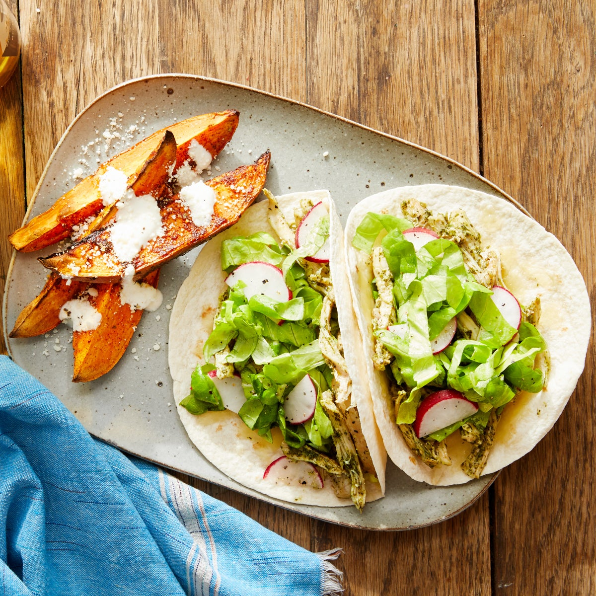 Chicken Tacos with Elote-Style Sweet Potatoes