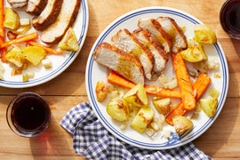 Sheet Pan Roasted Pork with Fall Vegetables & Maple Mustard Sauce
