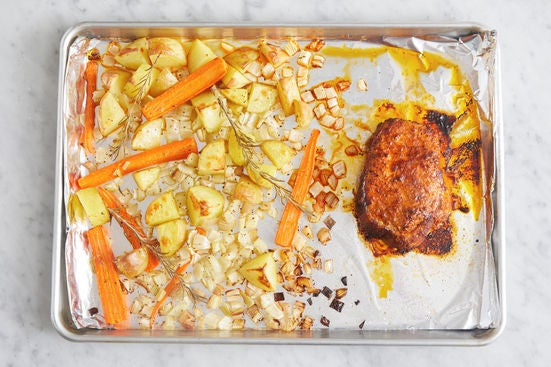 Roast the pork & vegetables: