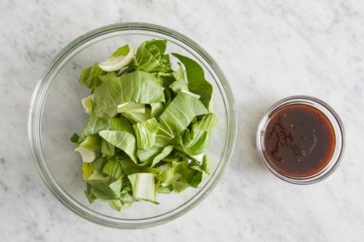 Prepare the bok choy & make the sauce: