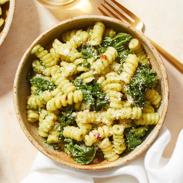 Pesto & Kale Pasta with Goat Cheese
