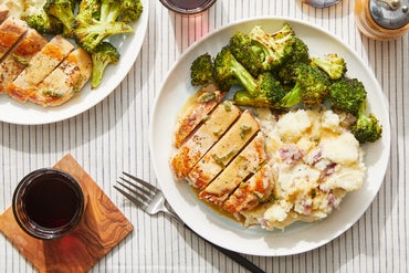 Seared Pork Chops & Cheesy Mashed Potatoes with Roasted Broccoli & Maple-Sage Pan Sauce