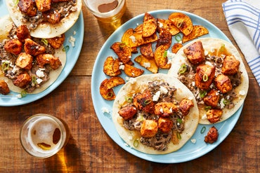 Chipotle Chicken Tostadas with Creamy Mashed Black Beans & Spiced Sweet Potatoes