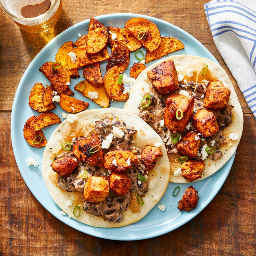 Chipotle Chicken Tostadas with Mashed Black Beans  & Spiced Sweet Potatoes