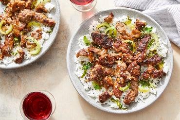 Orange Beef & Bok Choy over Jasmine Rice