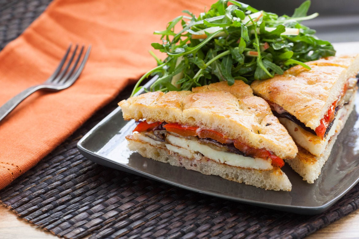 Recipe: Seared Halloumi Sandwiches on Focaccia with Roasted Vegetables ...