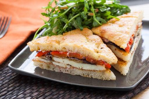 Seared Halloumi Sandwiches on Focaccia with Roasted Vegetables & Fuji Apple Salad