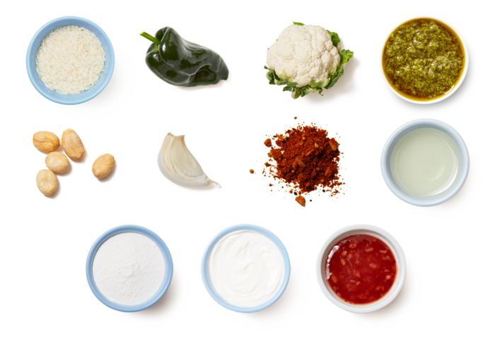 Indian-Style Crispy Cauliflower with Rice & Creamy Cilantro Sauce