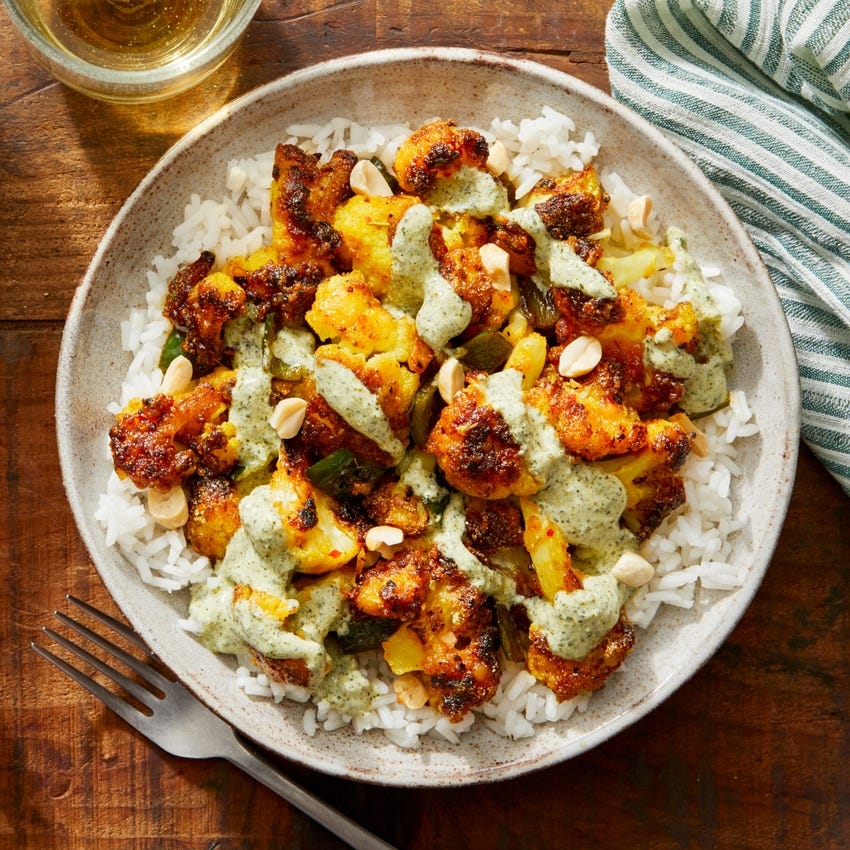 Indian-Style Crispy Cauliflower with Rice & Creamy Cilantro Sauce