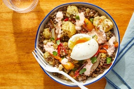 Za'atar-Roasted Cauliflower & Lentil Bowls with Soft-Boiled Eggs