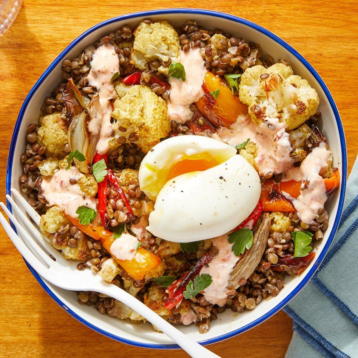 Za'atar-Roasted Cauliflower & Lentil Bowls with Soft-Boiled Eggs