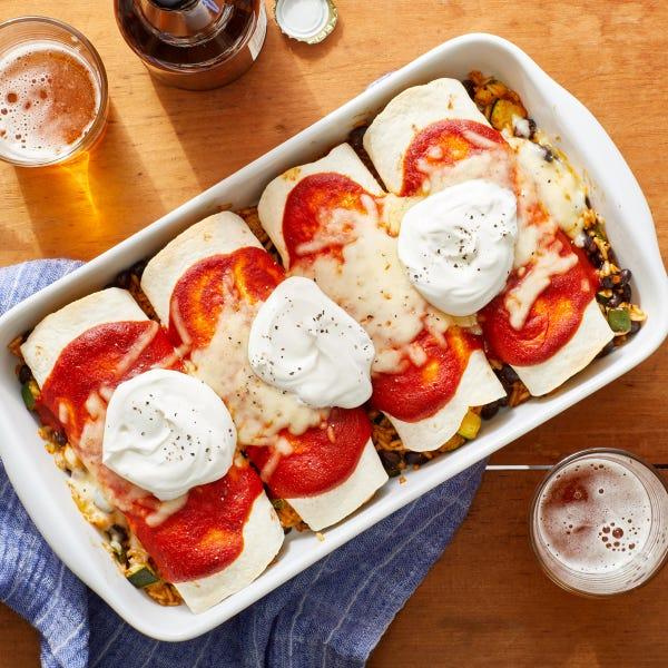 Smoky Vegetable Enchiladas with Guajillo Pepper Sauce  & Monterey Jack