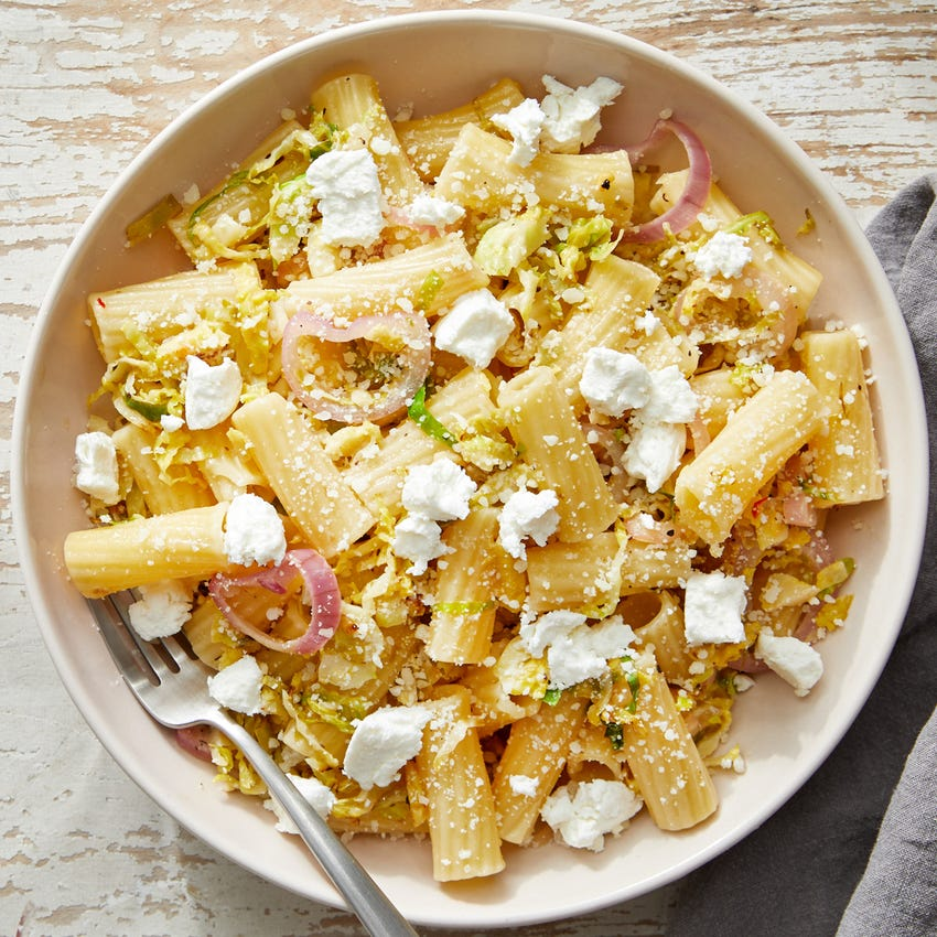 Three-Cheese  & Lemon Pasta with Brussels Sprouts