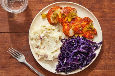 Smoky Chicken & Brown Butter-Orange Sauce with Sautéed Cabbage & Mashed Potatoes