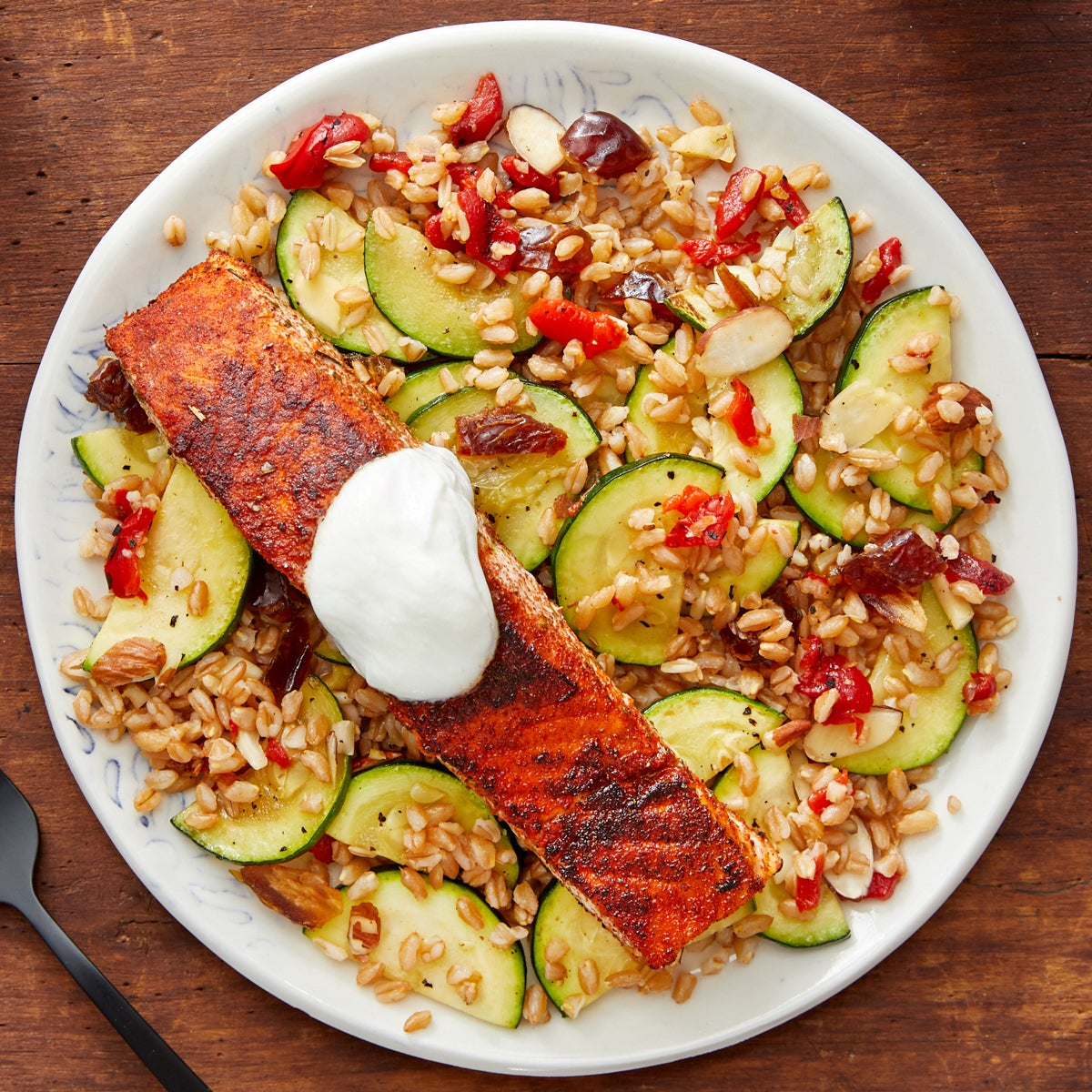 Spanish-Spiced Salmon with Farro & Zucchini Salad