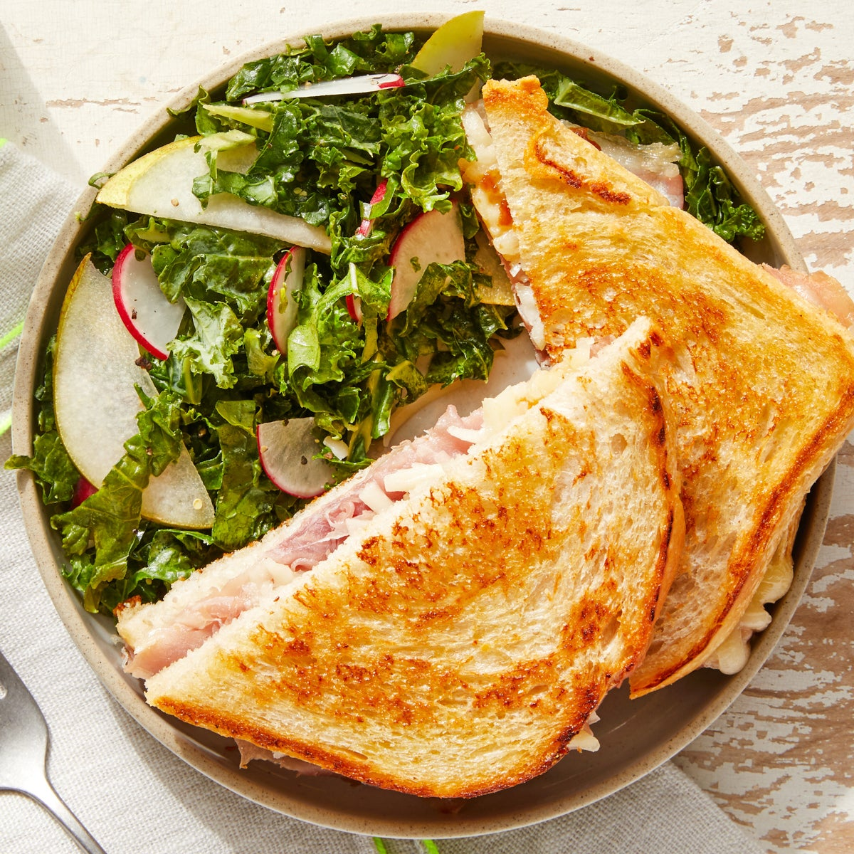 Prosciutto & Fontina Grilled Cheese with Kale Salad