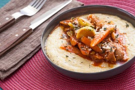 Braised Carrots, Mushrooms & Brussels Sprouts with Creamy Polenta
