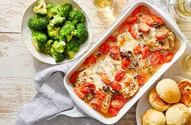 Mozzarella & Tomato Baked Chicken with Garlic-Parmesan Rolls