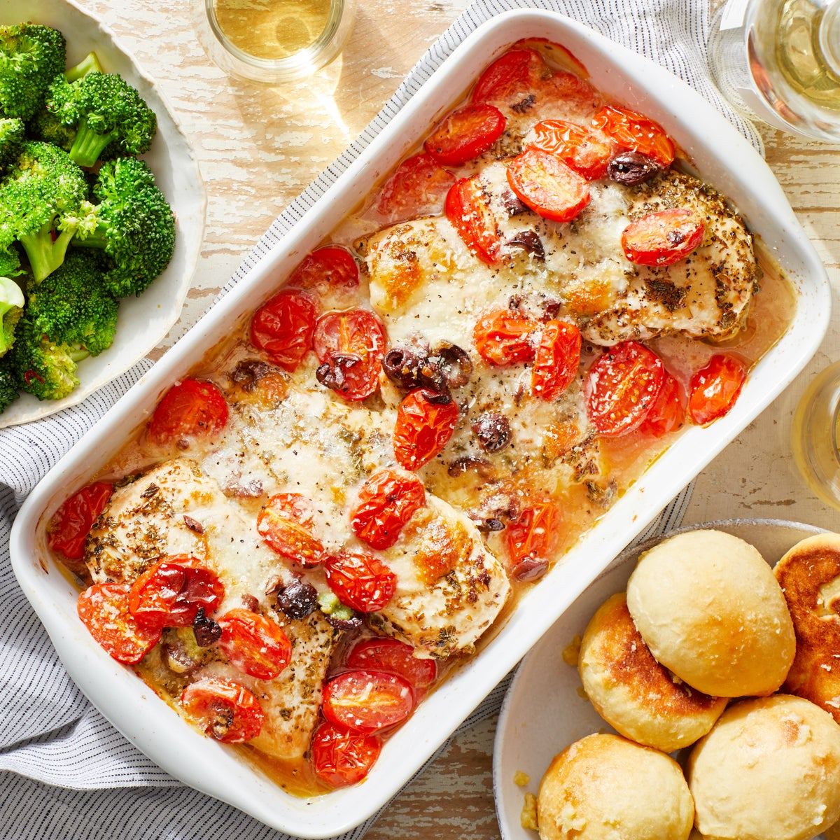 Mozzarella & Tomato Baked Chicken with Garlic-Parmesan Rolls