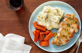 Seared Pork Chops & Roasted Carrots with Ricotta Mashed Potatoes