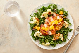 Cajun-Spiced Pork Chops with Jalapeño-Orange Salsa & Kale Salad