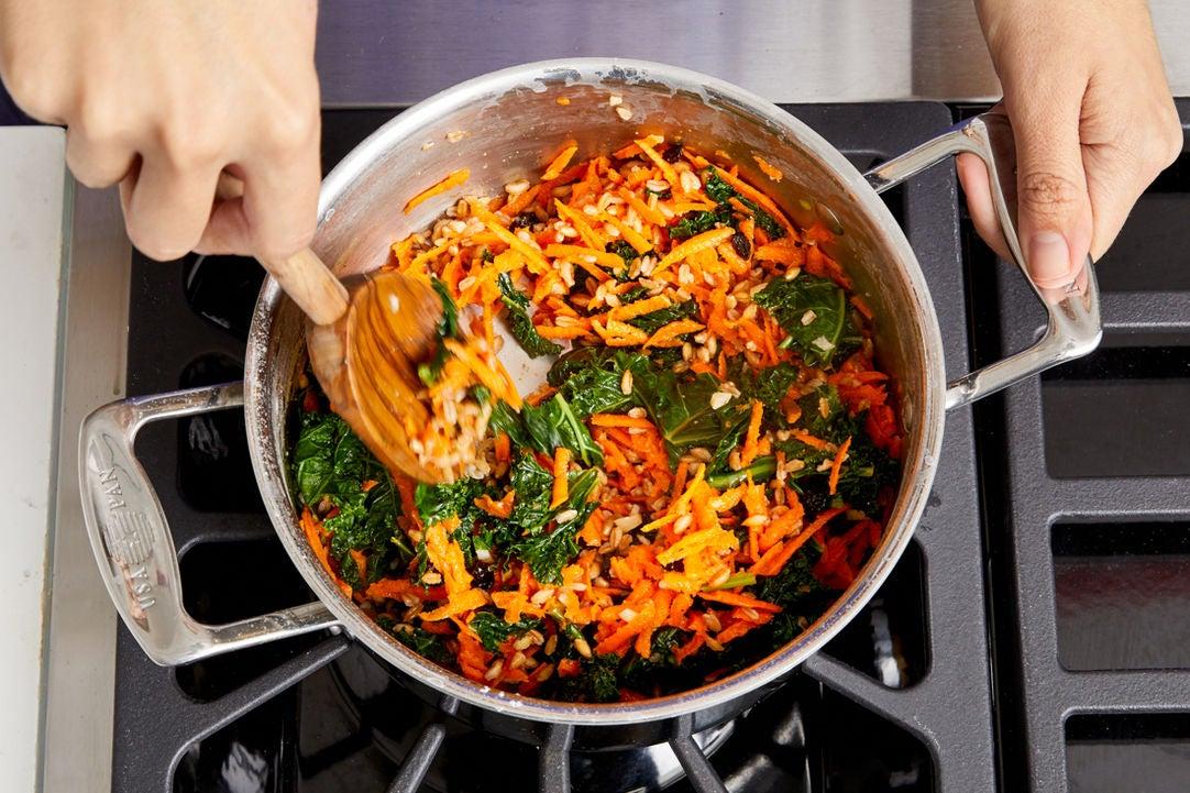 Finish the farro & serve your dish: