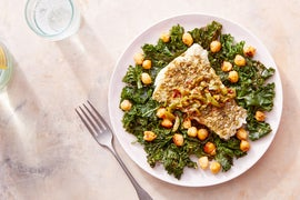 Za'atar-Spiced Cod & Olive Dressing with Harissa Kale & Chickpeas