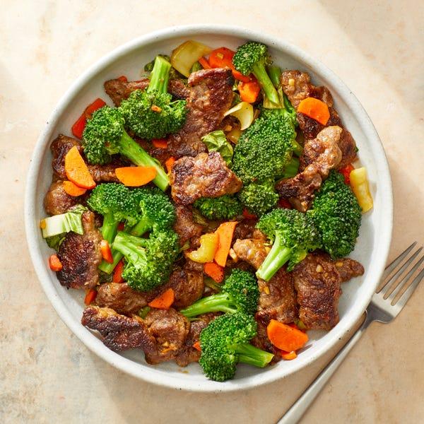 Beef & Vegetable Stir-Fry with Sesame-Sambal Sauce