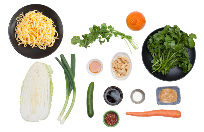 Chopped Asian Salad with Cold Noodles & Soy-Peanut Vinaigrette ingredients