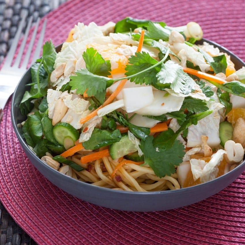 Chopped Asian Salad with Cold Noodles & Soy-Peanut Vinaigrette