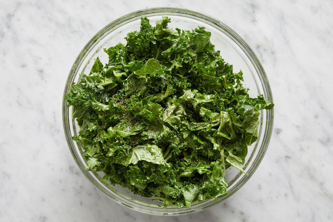 Marinate the kale: