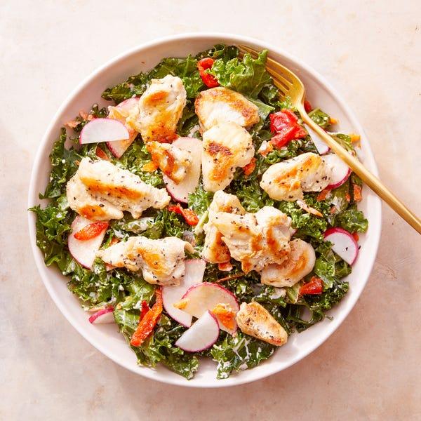 Chicken & Kale Salad with Lemon-Yogurt Dressing