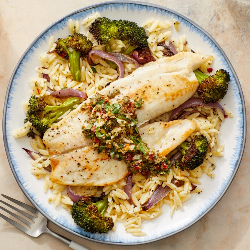 Seared Tilapia & Orzo with Roasted Broccoli & Salsa Verde
