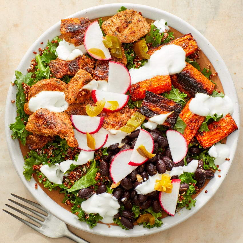 Chicken & Quinoa Burrito Bowl with Roasted Carrots  & Spicy Radishes