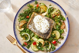 Za'atar-Spiced Barramundi & Yogurt Sauce over Sautéed Vegetables
