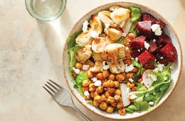 Mediterranean Chicken Salad with Roasted Chickpeas & Marinated Beets