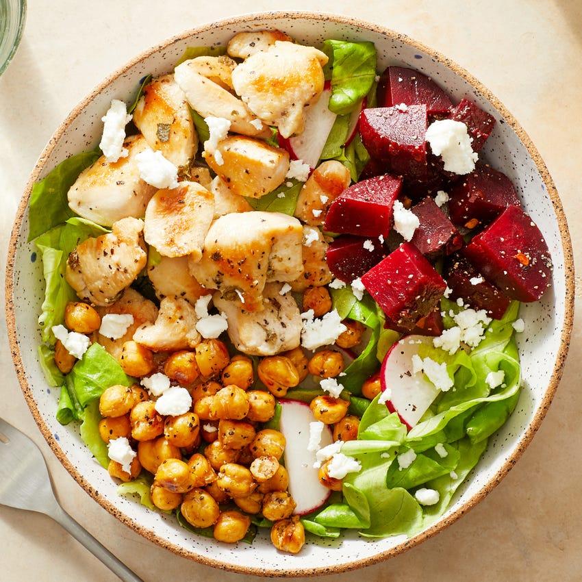 Mediterranean Chicken Salad with Roasted Chickpeas & Marinated Beets