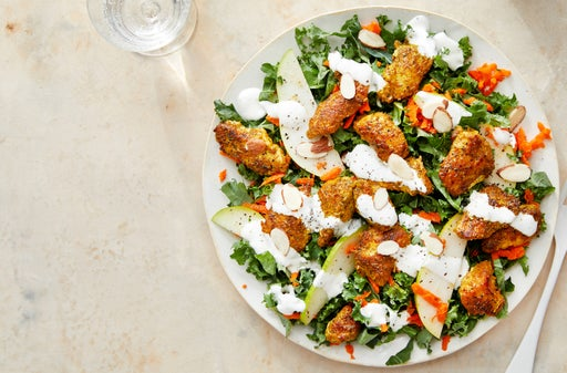 Vadouvan-Spiced Chicken & Kale Salad with Creamy Lime Dressing