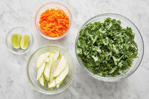 Prepare the ingredients & season the kale: