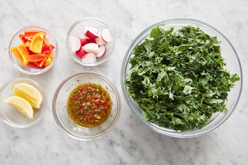 Prepare the ingredients & make the salsa verde: