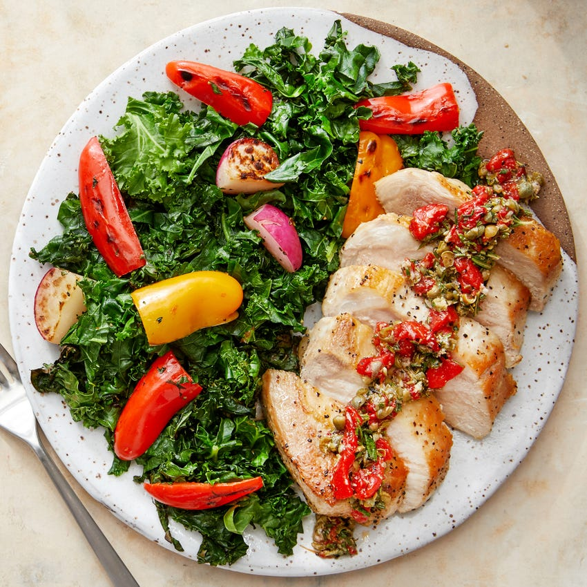 Seared Pork Chops & Salsa Verde with Kale, Radishes, & Sweet Peppers