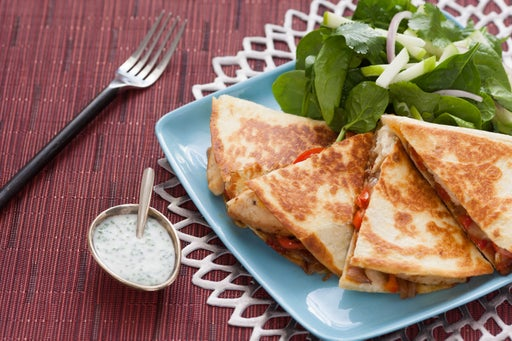 Two-Cheese Chicken Quesadillas with Chive-Sour Cream & Spinach and Apple Salad