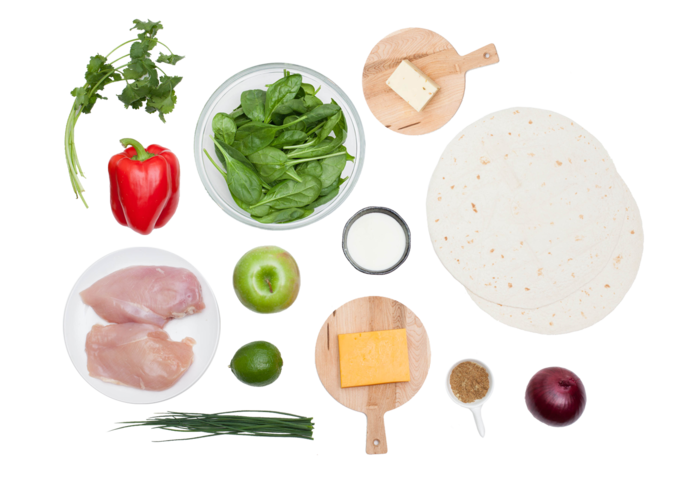 Two-Cheese Chicken Quesadillas with Chive-Sour Cream & Spinach and Apple Salad ingredients