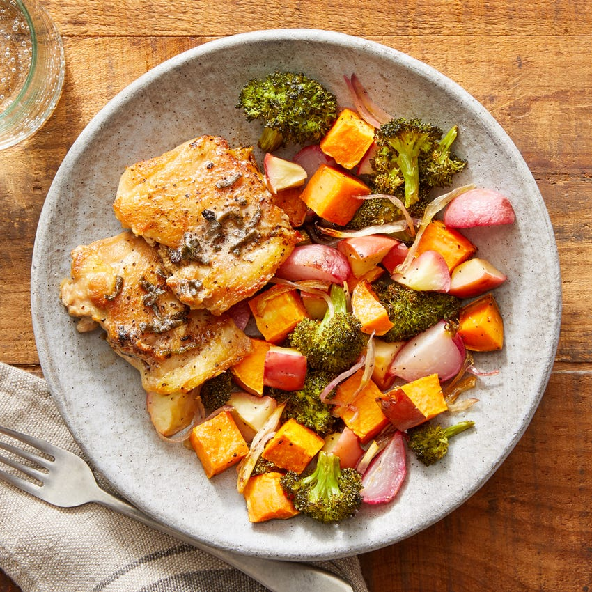 Sage & Brown Butter Chicken with Roasted Vegetables