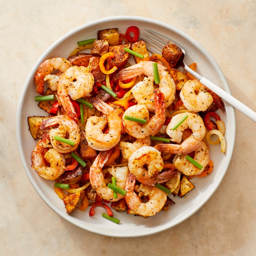 Spanish-Style Garlic Shrimp & Potatoes with Peppers & Onion