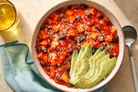 Chipotle Sweet Potato Chili with Avocado & Cotija Cheese