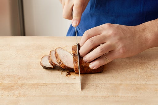 Slice the pork & serve your dish:
